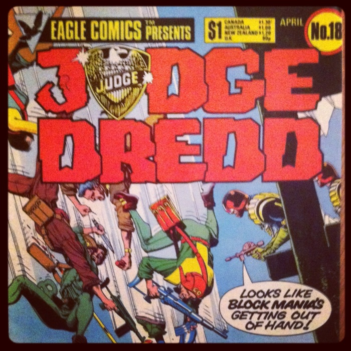 Brian Bolland cover from US edition of 2000AD's Judge Dredd story 'Block Mania'