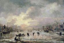 Aert_van_der_Neer_-_Winterlandschap_met_huizen_(ca._1645-1650)