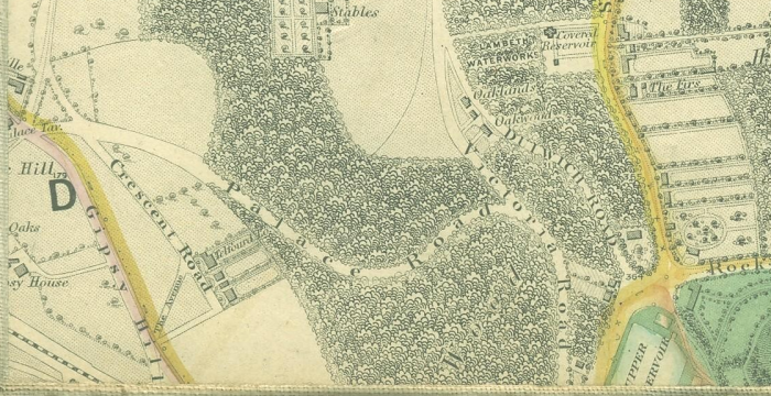 Gipsy Hill in the early 19th Century with Long Meadow to the right (http://tinyurl.com/6pvkkk))
